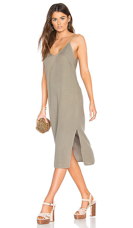 Splendid Slit Tank Dress in Olive