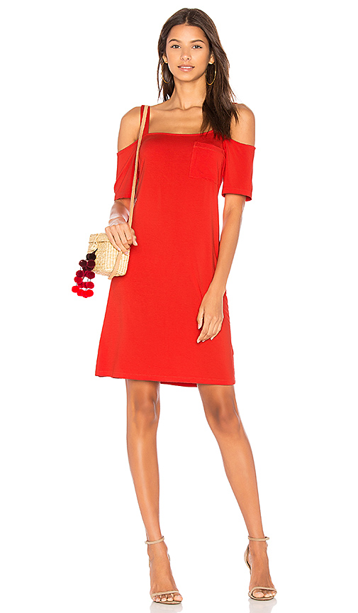 Splendid Open Shoulder Tee Dress in Red