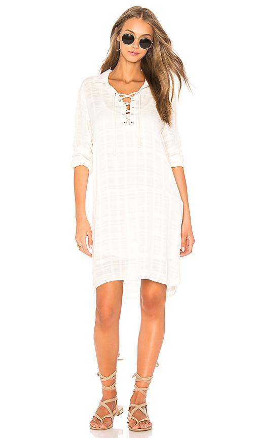 Photo of Splendid Sandbar Stripe Lace Up Dress in Ivory - shop Splendid dresses sales