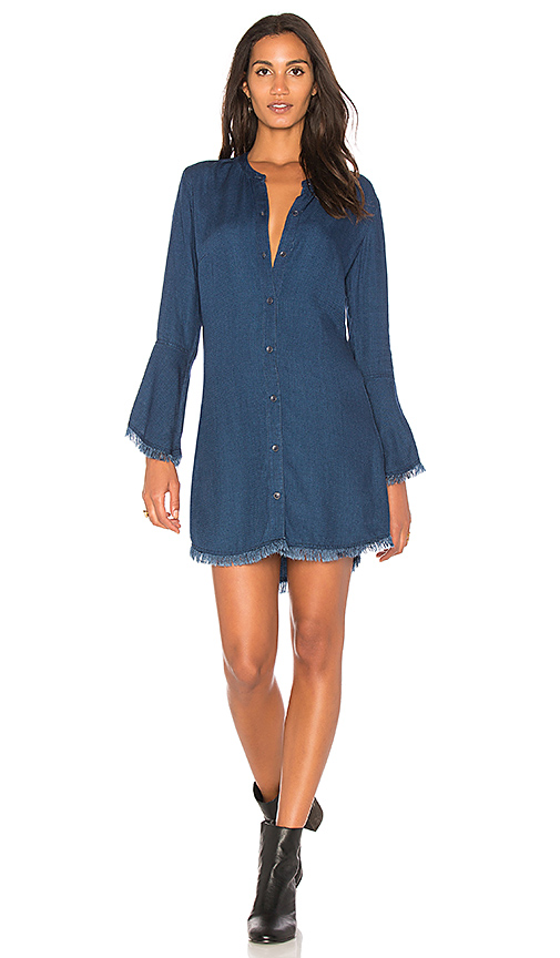 Splendid Ruffle Shirt Dress in Blue