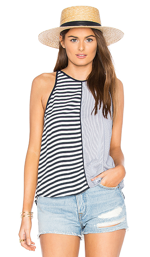 Splendid Boardwalk Stripe Tank in Navy