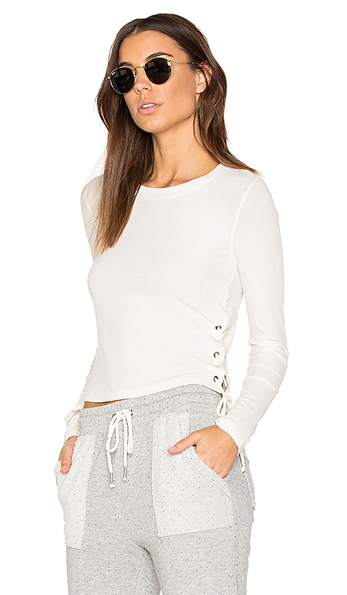 Splendid Drapey Lux Rib Top in Ivory