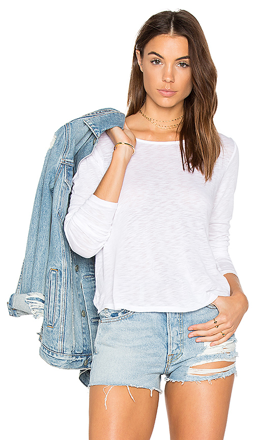 Splendid Long Sleeve Slub Tee in White