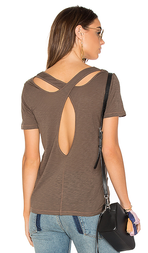 Splendid Cross Back Slub Tee in Green