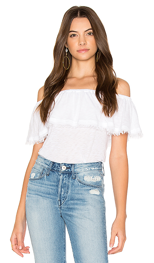 Splendid Off Shoulder Ruffle Top in White
