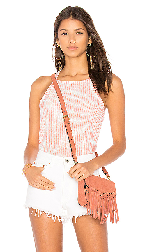 Splendid Linen Mini Stripe Tank in Orange