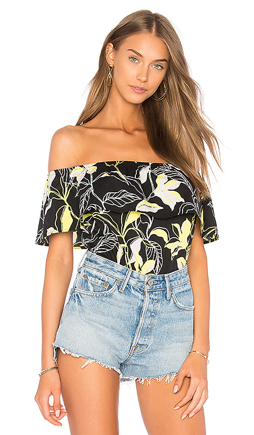 Splendid Tropic Floral Top in Black