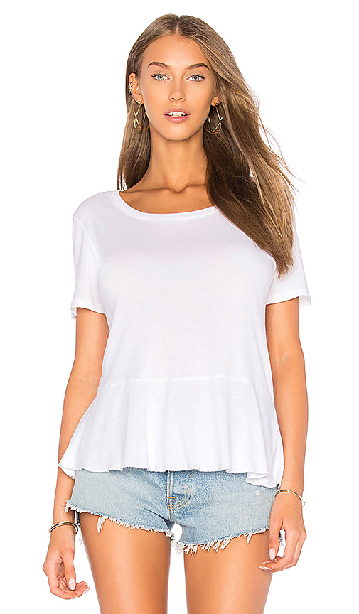 Splendid 1X1 Ruffle Tee in White