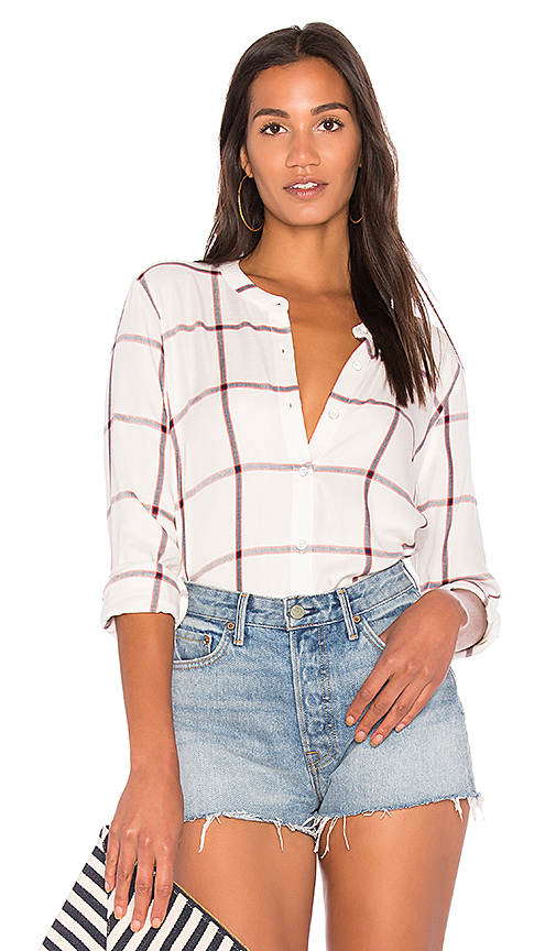 Splendid Reily Plaid Button Up in White