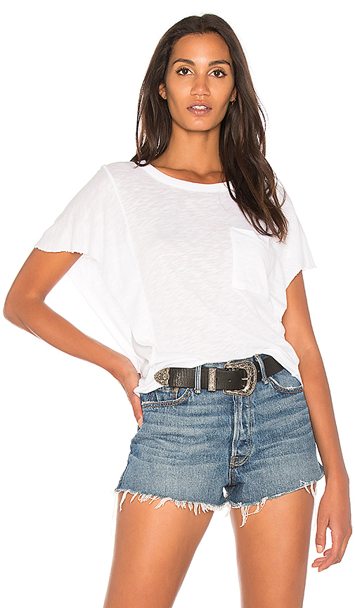 Splendid Heavy Slub Ruffle Tee in White