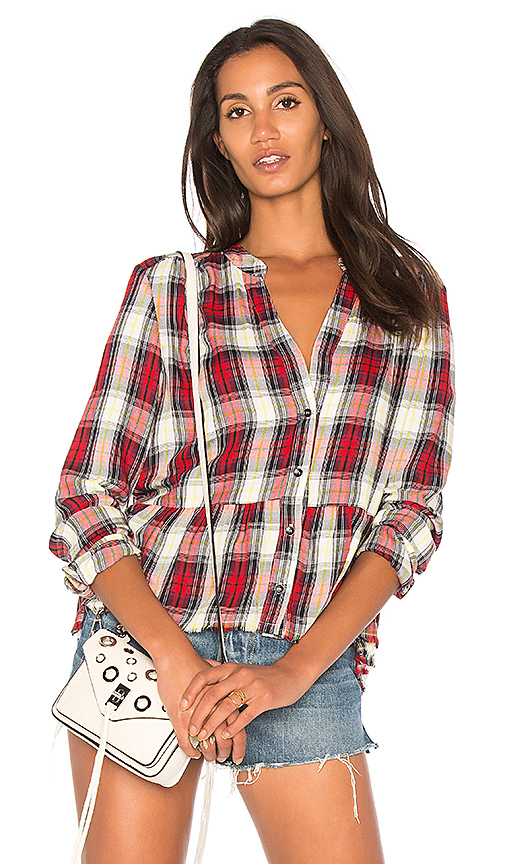Splendid Edgware Plaid Button Up in Red