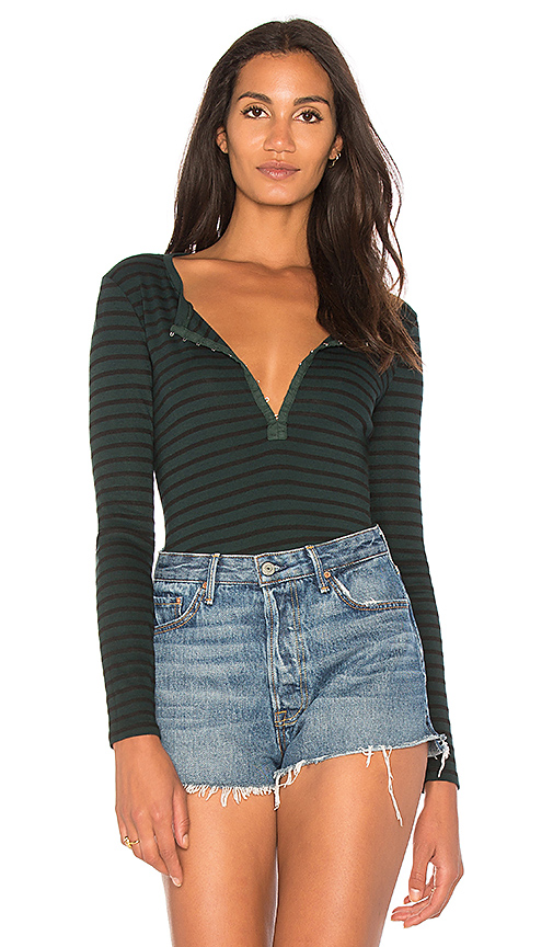 Photo of Splendid Black Venice Stripe Henley in Green - shop Splendid tops sales