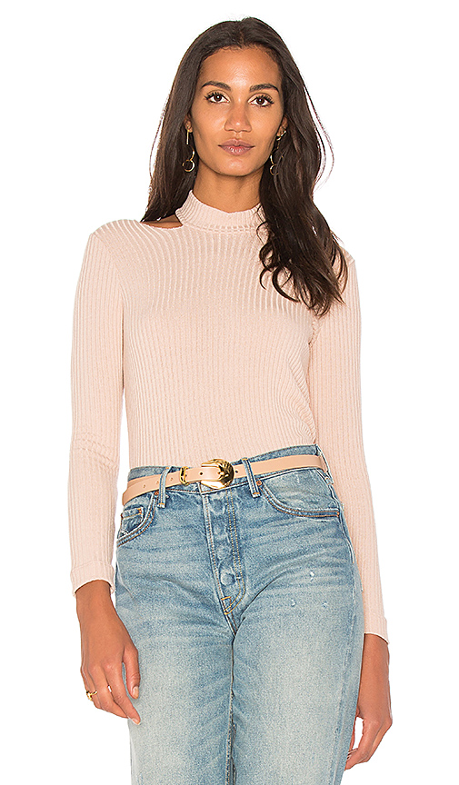 Splendid Rib Open Shoulder Top in Blush