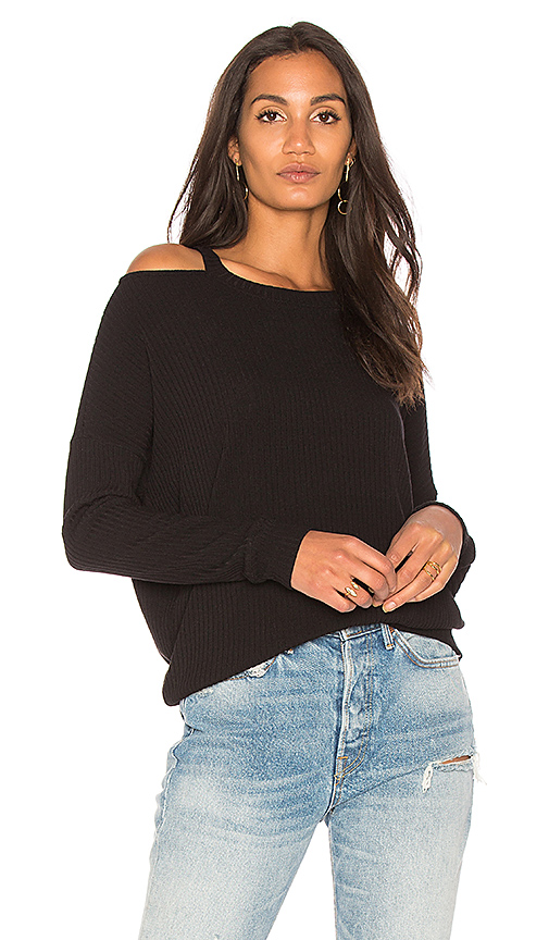 Splendid Rib Cold Shoulder Top in Black