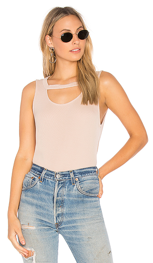 Splendid 2X1 Rib Cut Out Tank in Blush