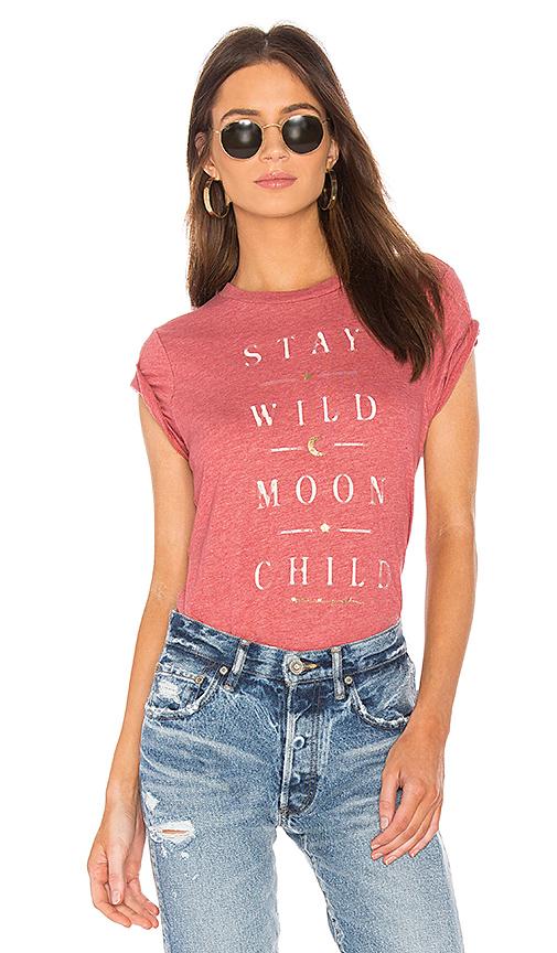 Spiritual Gangster Wild Moon Rec Tee in Red