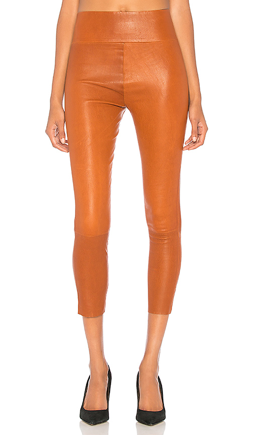 SPRWMN High Waist 3/4 Leather Legging in Brown. - size M (also in L,S,XS)