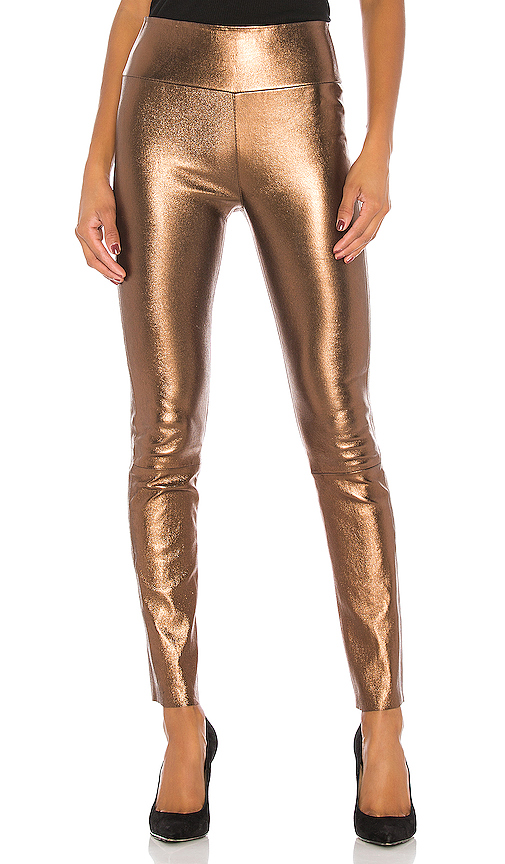 SPRWMN High Waist Ankle Legging in Metallic Bronze. - size M (also in L,S,XS)