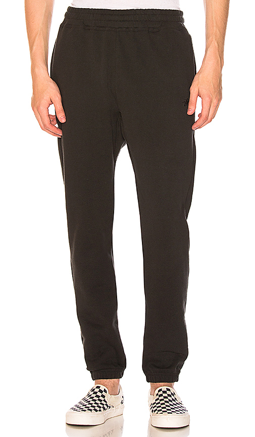 Stussy Stock Fleece Pant in Black. - size L (also in M,S,XL)