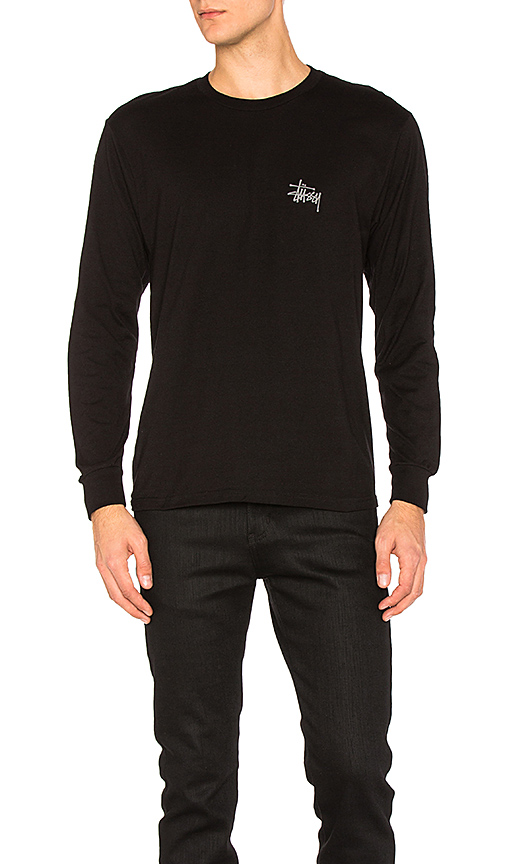 Stussy Basic Stussy L/S Tee in Black. - size M (also in S,XL)