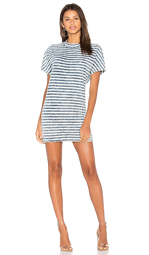 Stateside Bleached Indigo Stripe T Shirt Dress in Blue