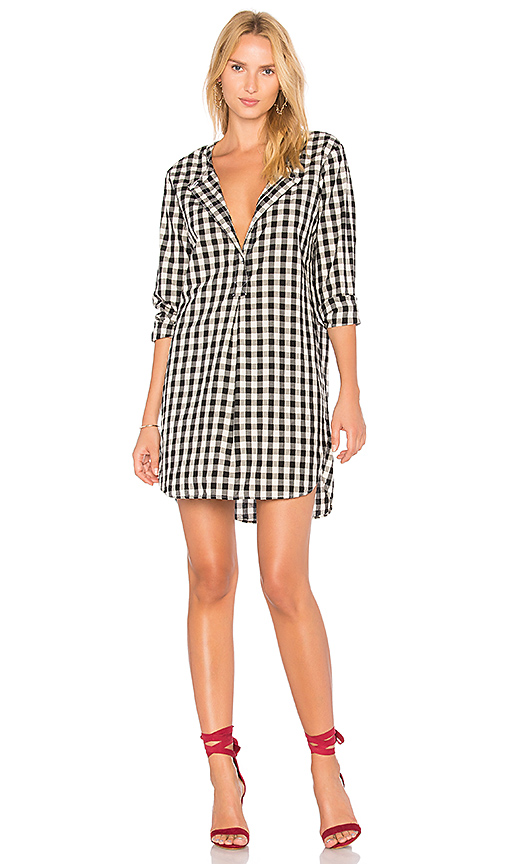 Stateside Oxford Shirting Dress in Black