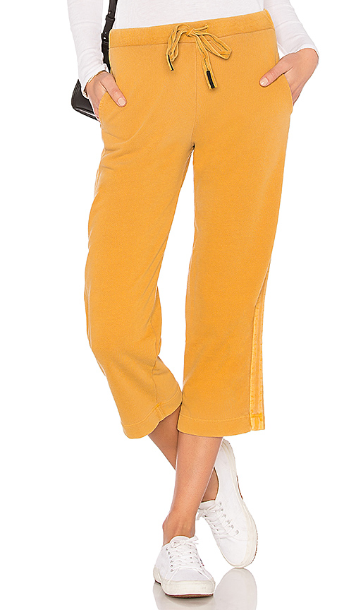 Stateside French Terry Wide Leg Pant in Mustard. - size L (also in XS,S,M)
