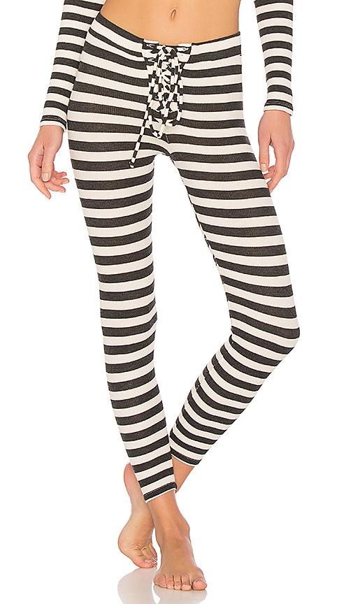 Stateside Striped Thermal Legging in Cream. - size XS (also in L,M,S)