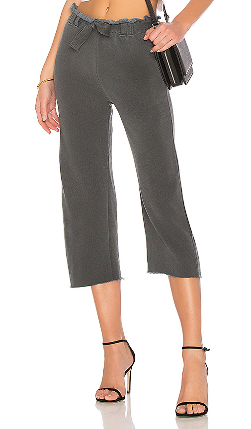 Stateside French Terry Wide Leg Pant in Charcoal. - size XS (also in L,M,S)