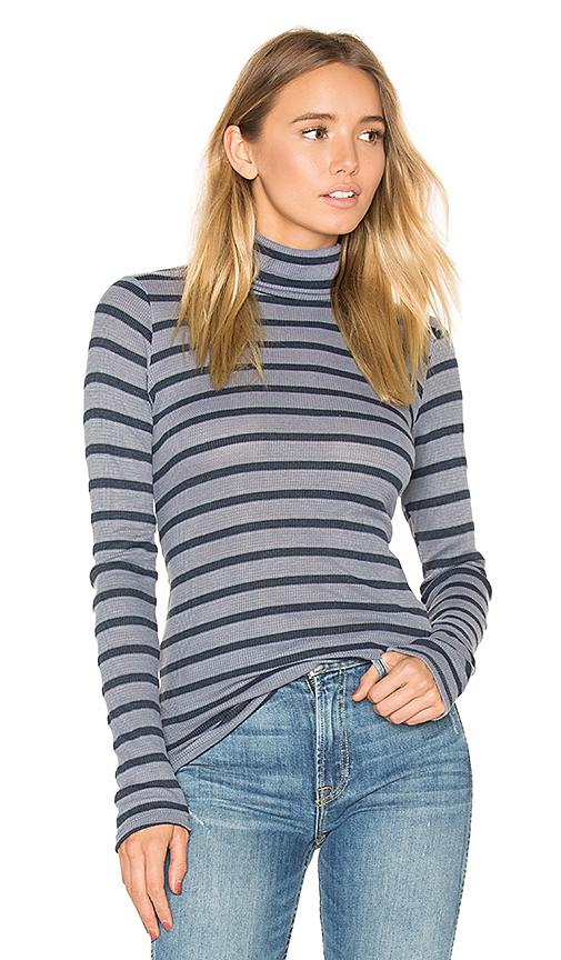 Stateside Stripe Thermal Turtleneck Sweater in Gray. - size L (also in M)
