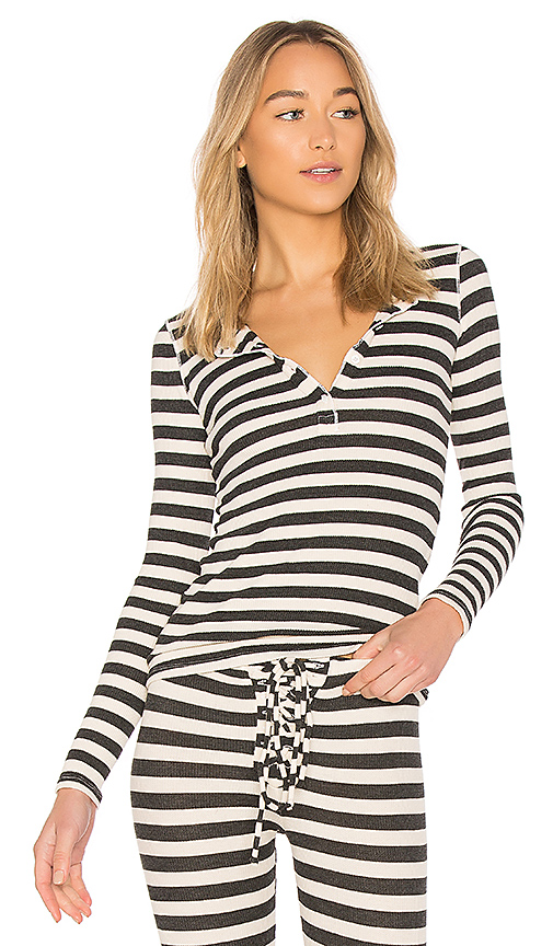 Stateside Striped Thermal Top in Cream. - size XS (also in L,M,S)