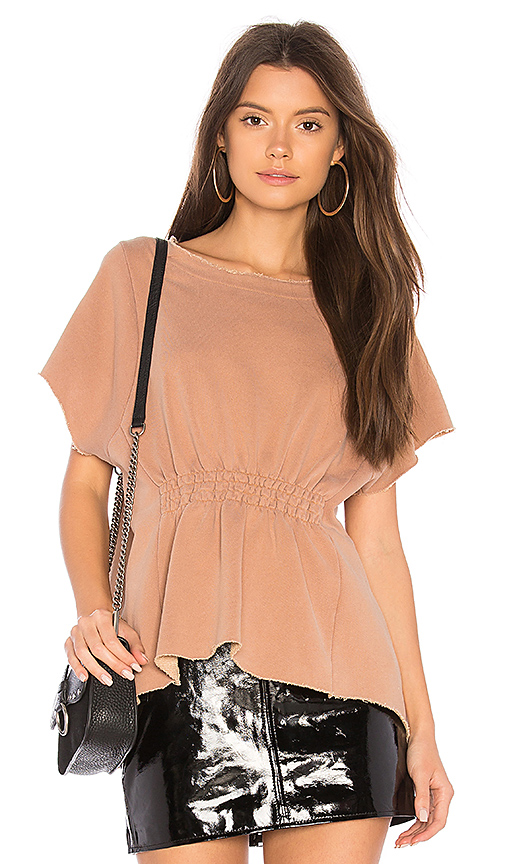 Stateside French Terry Ruched Tee in Tan. - size L (also in M,S,XS)