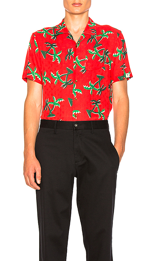 Scotch & Soda Short Sleeve Hawaii Shirt in Red. - size L (also in M,S,XL)