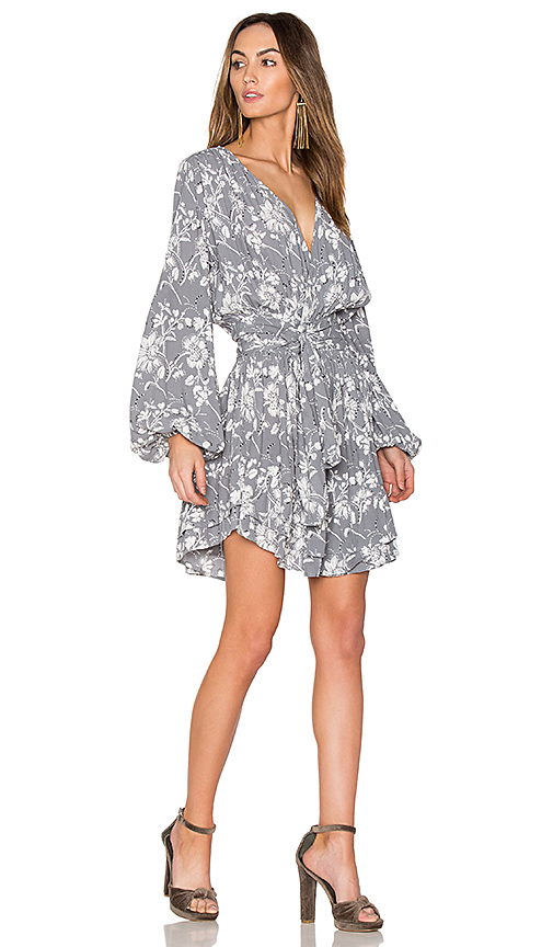Steele Wildflower Wrap Dress in Slate. - size L (also in M,S,XS)