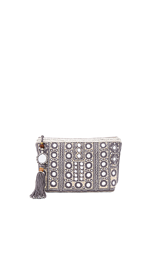 Star Mela Pinki Embroidered Clutch in Gray
