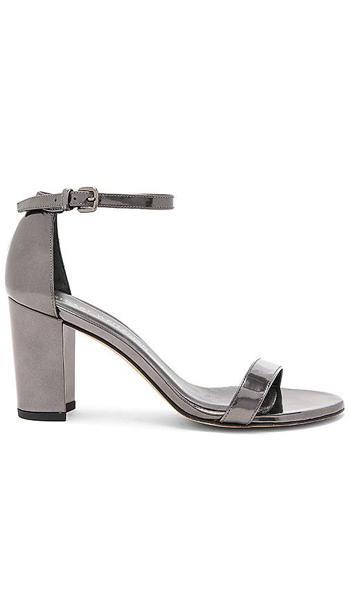 Stuart Weitzman Nearlynude Heel in Metallic Silver