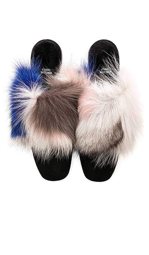 Stuart Weitzman Furgetit Fox Fur Slide in Black