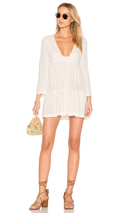 Stillwater Tiered Square Neck Mini Dress in White