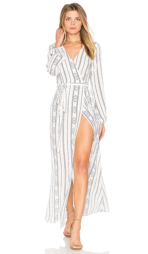 Stillwater High Slit Wrap Dress in White. - size L (also in XS)