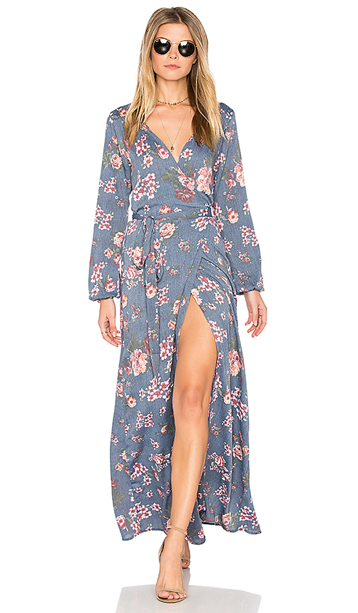 Stillwater High Slit Wrap Dress in Blue. - size L (also in M,S,XS)