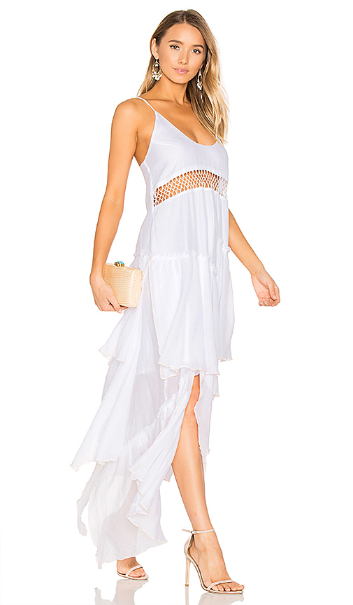 Suboo Closer Frill Maxi Dress in White