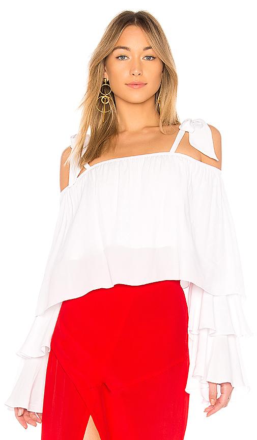 SWF Sabrina Ruffle Top in White