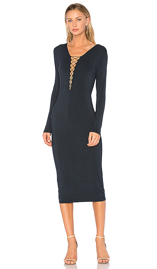 T by Alexander Wang Lace Up Midi Dress in Navy