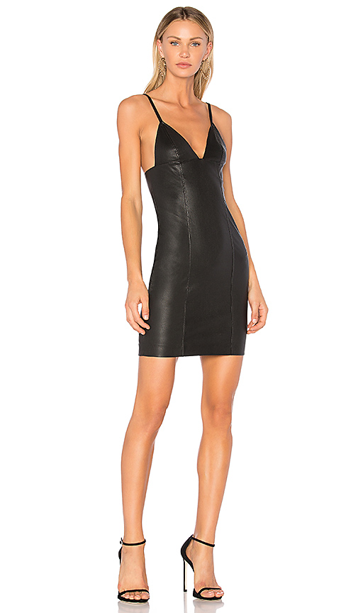 T by Alexander Wang Fitted Leather Dress in Black