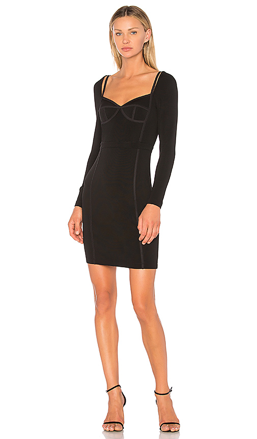 T by Alexander Wang Sweetheart Long Sleeve Fitted Dress in Black