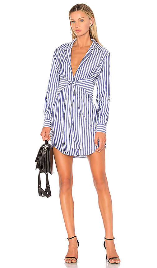 T by Alexander Wang Tie Front Collared Dress in Blue