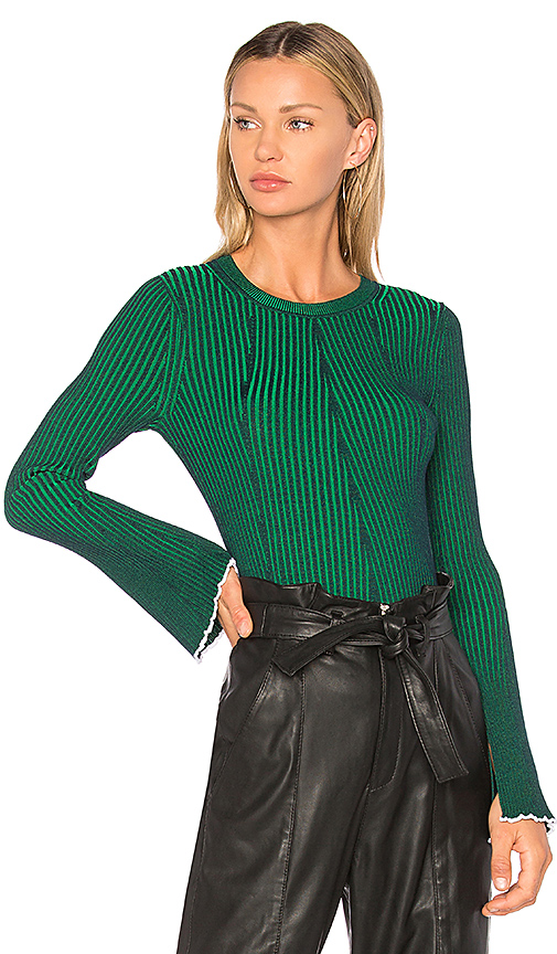 T by Alexander Wang Flared Sleeve Sweater in Green. - size L (also in M,S,XS)