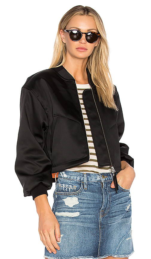 Shop T by Alexander Wang Cropped Bomber Jacket in Black online jackets