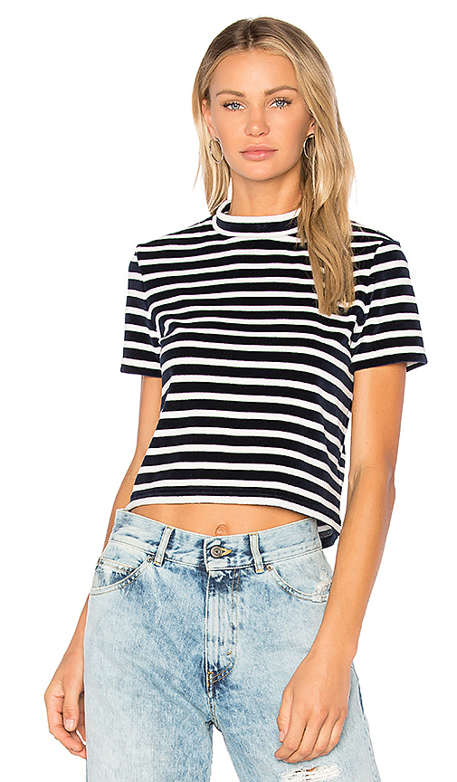 T by Alexander Wang Short Sleeve Mock Neck Top in Navy