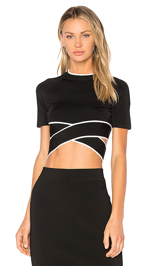 T by Alexander Wang Criss Cross Top in Black